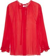 Nina Ricci Plissé-silk blouse