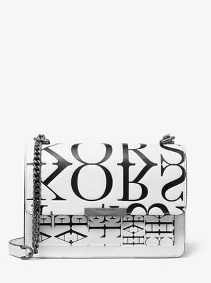 MICHAEL Michael Kors Jade Large Newsprint Logo Leather Crossbody Bag