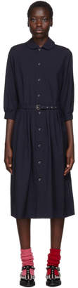 Comme des Garcons Navy Round Collar Belted Dress