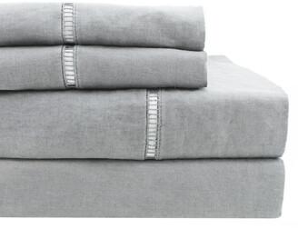 Melange Home 100% Pure Linen Ladder Hemstitch Sheet Set