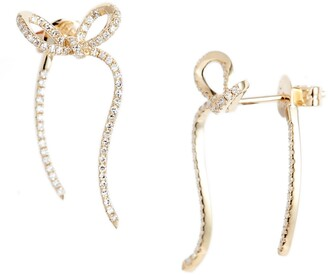 Ef Collection Diamond Ribbon Front/Back Earrings