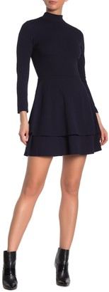 Love...Ady Mock Neck Long Sleeve Double Fit & Flare Dress