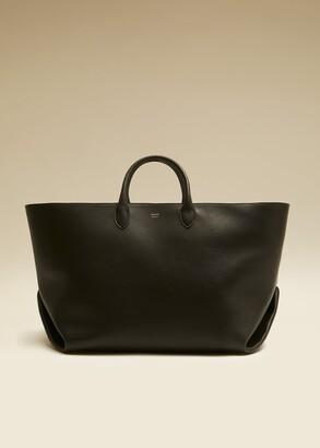 KHAITE The Medium Envelope Pleat Tote in Black Leather