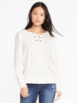 Old Navy Relaxed Lace-Up French Terry Top