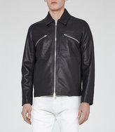 Reiss Reiss Jurassic - Zip Detail Leather Jacket In Blue