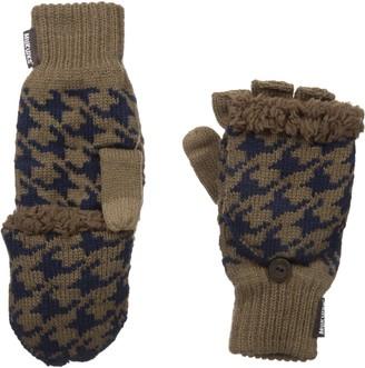 Muk Luks Men's Fingerless Flip Mittens-Brown One Size