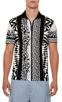 Versace Half-Zip Graphic Polo Shirt