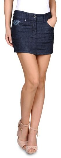Armani Jeans Denim Miniskirt With Embroidered Details