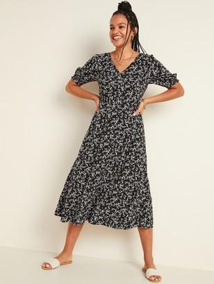 Old Navy Floral-Print V-Neck Fit & Flare Midi Dress for Women