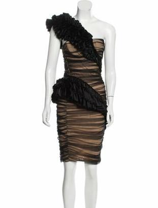 Thomas Wylde Ruffle-Accented Mini Dress Black