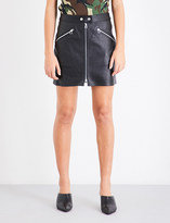 Rag & Bone Mid-rise fitted leather skirt
