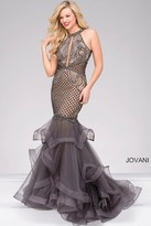 Jovani Halter Neck Tiered Mermaid Dress 45995