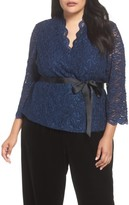 Alex Evenings Plus Size Women's Glitter Detail Lace V-Neck Blouse