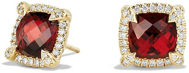 David Yurman Ch'telaine Pavé Bezel Stud Earrings with Garnet and Diamonds in 18K Gold