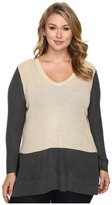 Vince Camuto Specialty Size Plus Size Long Sleeve V-Neck Neck Waffle-Stitch Color Block Sweater