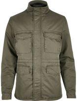 River Island MensKhaki quilted four pocket jacket