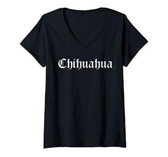 Womens Chihuahua city Mexico - Old English Chola Representing V-Neck T-Shirt