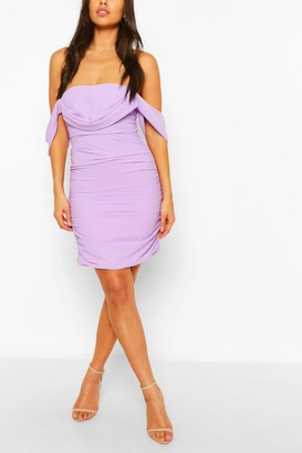 boohoo Petite Ruched Bardot Dress