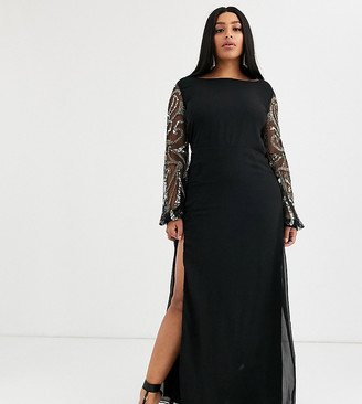 Virgos Lounge Plus sheer long sleeve maxi dress with thigh split in black