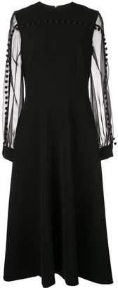 Christian Siriano flared midi dress with tassels