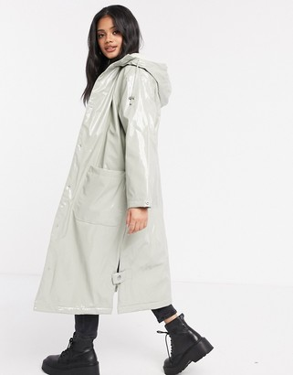 ASOS DESIGN vinyl maxi raincoat in sage