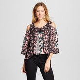 Notations Women's Mixed Rose Printed Woven Cold Shoulder Blouse