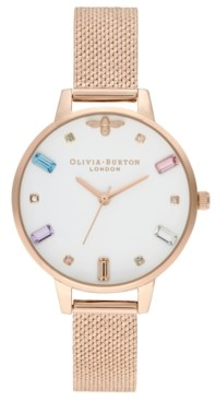Olivia Burton Women's Rose Gold Ion-Plated Stainless Steel Mesh Bracelet Watch 34mm