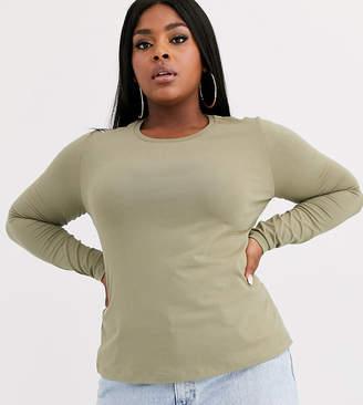 Asos DESIGN Curve ultimate organic cotton crew neck long sleeve t-shirt in khaki-Green