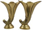 One Kings Lane Vintage Deco-Style Brass Horn Vases, Pr