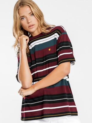 Carhartt Wip Flint Short Sleeve T-Shirt in Maroon Stripe