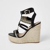 River Island Black whipstitch strap wide fit wedge sandals