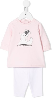 Karl Lagerfeld Paris Choupette logo two-piece set