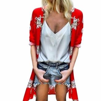 Ihaza Top iHAZA Women Loose Summer Floral Flare Half Sleeved Tops Drape Cardigan Kimono Open Front Red