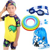 Monvecle Little Boys' 3-Pieces Short Sleeve Rash Guard Swimsuit Set with Swim Cap UPF 50+ 5-6y