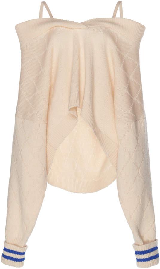 Maison Margiela Off-The-Shoulder Argyle Pullover