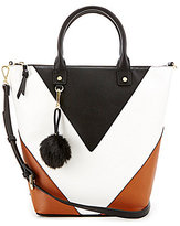 Gianni Bini V Color Block Tote with Faux-Fur Pom Keychain