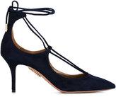 Aquazzura Ink Blue Christy Pointed Heels - women - Leather/Suede - 38.5