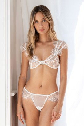 Nasty Gal Womens Lace Get It On Bralette and Knickers Set - White - L