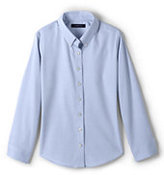 Classic Little Girls Long Sleeve No Iron Pinpoint-White