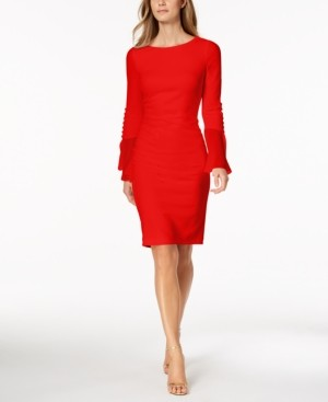 Calvin Klein Petite Chiffon Bell-Sleeve Sheath Dress