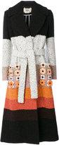 Fendi striped appliqué coat - women - Polyamide/Alpaca/Virgin Wool/plastic - 42