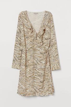H&M Patterned Wrap-front Dress - Beige