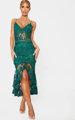 PrettyLittleThing Black Lace Strappy Plunge Frill Hem Midi Dress
