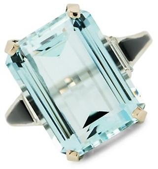 Stephanie Windsor Vintage Platinum & Natural Aquamarine Baguette Ring