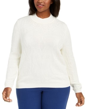 Alfred Dunner Plus Size First Frost Beaded Knit Sweater