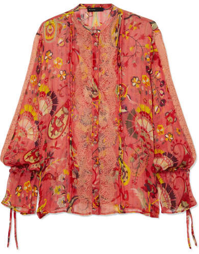 Etro Lace-trimmed Printed Silk-crepon Blouse - Red