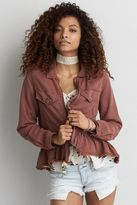 American Eagle Outfitters AE Ruffle Hem Military Jacket