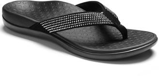 Vionic Leather Rhinestones Thong Sandals - TideRhinestone