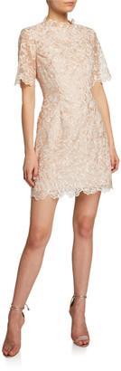 Mestiza New York Lucena Elbow-Sleeve Scallop Lace Dress