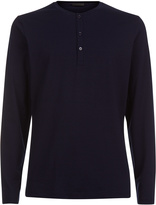 CHALLENGE Long-sleeved granddad-neck top in stretch jersey